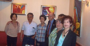 Francisco Alonso joined by some of his Monterey Park supporters at the ABC Café.