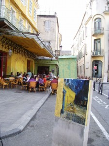 "Van Gogh painted this very cafe, calling it ""Le Cafe le Soir."""