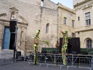 We are amazed to see these large skeletons walking in the square