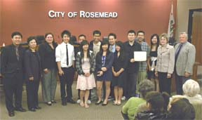 "City of Rosemead Council presented an Award of Recognition to Rosemead High School Co-Ed Badminton Team on June 23, ""in recognition and congratulations on winning the CIF Southern Section Division 2 Badminton Championship. Photo by C. Lyons."
