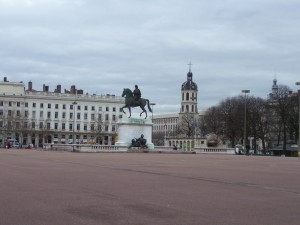 Louis XIV rides in Bellecour Square, a common gathering place for protesters.