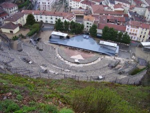 We look down from Mt. Pipet on the 2000 year old Roman Ampitheater.