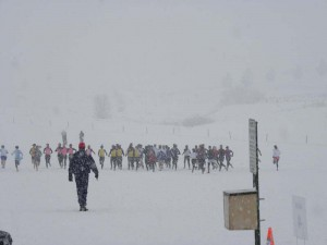 Start of Young Women's Division race weather was heavy snowing, mid 20s, and about one foot of snow already on ground.