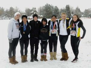 Southern California Road Runners Young Women's team placed fifth at USA Track & Field Junior Olympics Cross Country National Championships on Dec. 12, in Reno, Nev. The team won the western regional team championship on Nov. 22. Team members are (from left) Sayla Hicks (Redlands East Valley H,S.), Norbertha Garcia (Arroyo Valley H.S.), Katie Wagner (Redlands East Valley H.S.), Elizabeth Lyons (Rosemead H.S.), Audrey Correa (Patriot H.S.), Taylor Hebb (St. Lucy's H.S., Glendora), and Johnna Randazzo (Redlands East Valley H.S.).