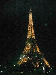 The Eiffel Tower sparkles on the hour each night.