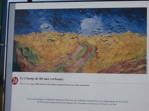 "This billboard of Van Gogh's last painting, ""Wheatfield with Crows"", stands in the very field where he painted it."