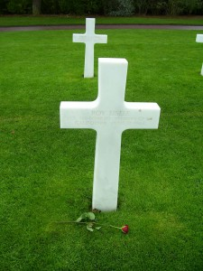 The cross in the American Cemetery bears the name of 1st Lt. Roy Eisele, a Californina airman like myself.