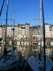 Our first view of the harbor of Honfleur