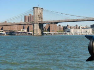 The Brooklyn Bridge, over 100 years old, still carries its share of traffic