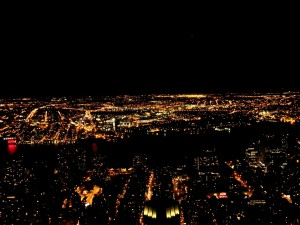 Although photos do not do it justice, this is the scene from the top of the Empire State Building at night.