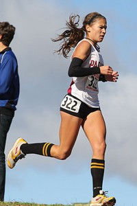Photo--Tracee van der Wyk runs strong during the CCCAA State meet November 20, 2010, image by Richard Quinton.