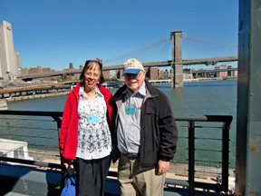 Author and photographer with the Brooklyn Bridge as a backdrop.