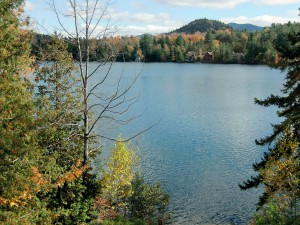 We enjoy a respite by looking out over Lake Placid.