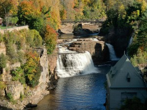 The roaring of the falls at Ausable Chasm is captivating.
