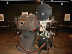 At the fine museum attached to the Eastman house are a variety of cameras such as this one used in a drive-in movie.
