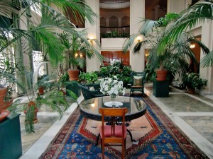 This restful conservatory is at the center of the house. Not shown is the head of an elephant overlooking the room.