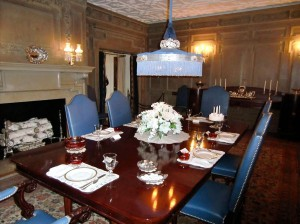 The dining room table is set as though the guests were about to arrive.