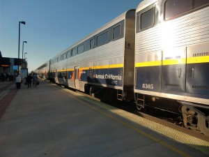 We get out and stretch our legs as our train pauses at Fresno.