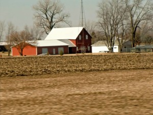 The most common scenes in the Midwest are fields and farmhouses.