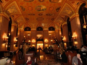 The lobby of the famous Palmer House Hotel in Chicago is breathtaking with its lights and columns.