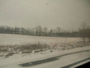 On our way again towards Michigan, the landscape as seen through our train window becomes much snowier.