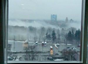 From our hotel window at Niagara Falls we have a beautiful view of the city and the cloud from the falls.
