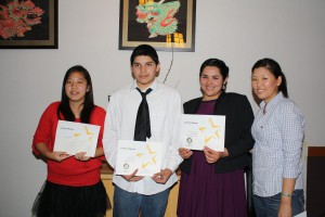From left to right are Cecilia Mak (3rd place winner), Michael Ramos (1st place), Jessica Ramos (2nd place) and Allison Yu, President of Monterey Park Rotary.