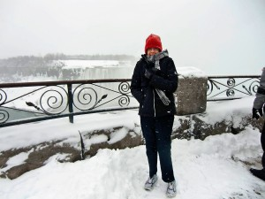 Our search for snow is answered at Niagara Falls as Dolores tries to keep warm.