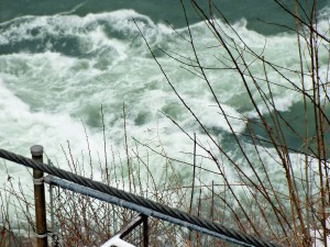 Where the Niagara Window bends, turbulent whirlpools swirl.
