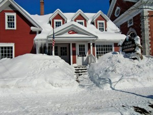 Drifts are piled up against the Green Mountain Inn.