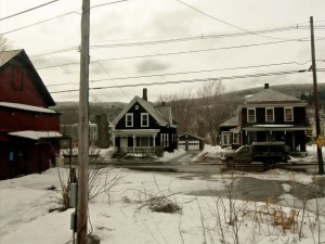 Houses in small towns appear to shiver in the biting cold.