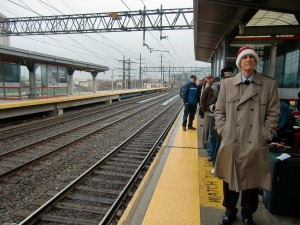 We wait on a wet, windy platform at Stamford, Connecticut for our train to Washington, D.C.
