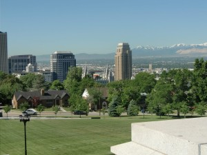A view over Salt Lake City can be seen from the steps of the Capitol building.
