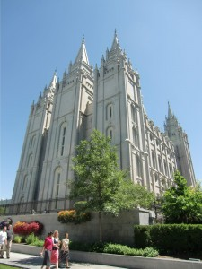 The Mormon Temple dominates the skyline of Salt Lake City.