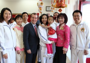 Congressman Ed Royce (middle) and Mayor Mary Su (second from right) of the   City of Walnut and Ms. Pamela Chen (middle), representative of the Tai Ji Men members wish everyone Happy Year of the Snake.