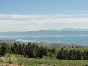This is our first view of Bear Lake, which expands from Utah into Idaho.