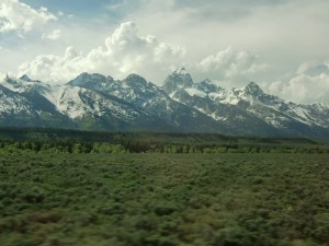 Our first views of the Grand Tetons take our breathe away.