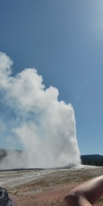 Old Faithful erupted right on time, sending a plume of water and steam over 100 feet high.