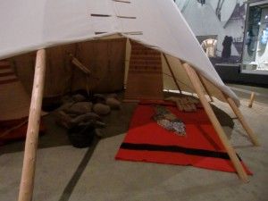 A tepee display inside the museum gives a good idea of the way the Plains Indians lived.