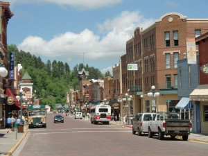 The old mining town of Deadwood is a single avenue of l9th century buildings.