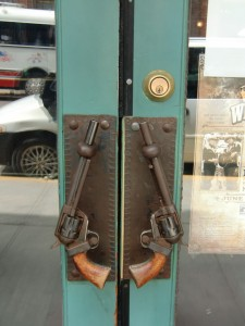 Keeping with the western theme of Deadwood are these unique door handles.