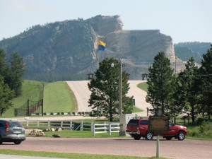 If you look carefully at the top of this photo, you can see Crazy Horse peering out over the prairie.