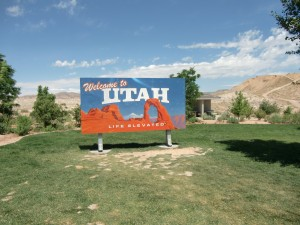 The sign, welcoming us to Utah, ushers in some rather dry, desolate country.