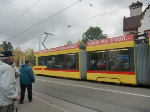 The trolley system in Basel covers every part of town.  We are about to board one to take us into the town's center.