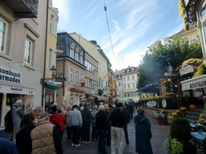 We stroll down this walking street in the heart of Baden-Baden.