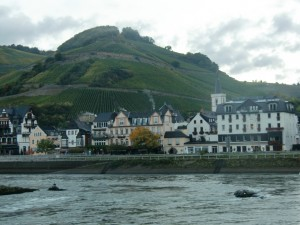 This scene is typical along this portion of the Rhine, small picturesque towns and vineyards thriving on the hillside.