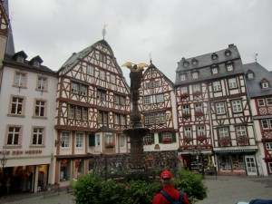 Standing in Berncastle's main square, surrounded by centuries-old half-timbered buildings, we exist somewhere back in history.
