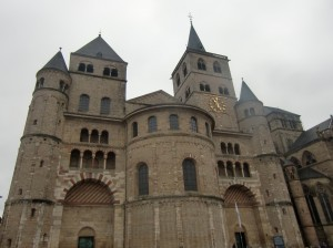 This Romanesque church, built about 1060 is called the High Cathedral of St. Peter in Trier and is directly across the street from the Gothic The Church of Our Dear Lady.