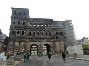 The Porta Negra, at the end of the pedestrian mall, is what is left of the original Roman gate to the city, now blackened with age.