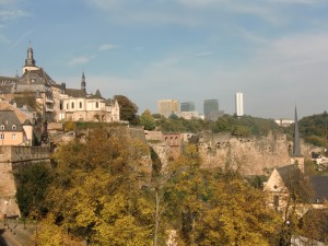 """From this same viewpoint we also saw at a distance the towering skyscrapers of modern Luxembourg, the humming business and financial center."""